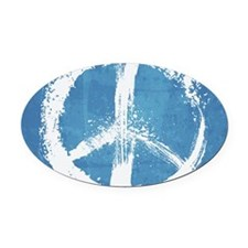 Grunge Peace Sign Oval Car Magnet