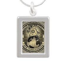 illuminati new world ord Silver Portrait Necklace