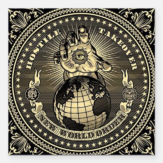 "illuminati new world ord Square Car Magnet 3"" x 3"""