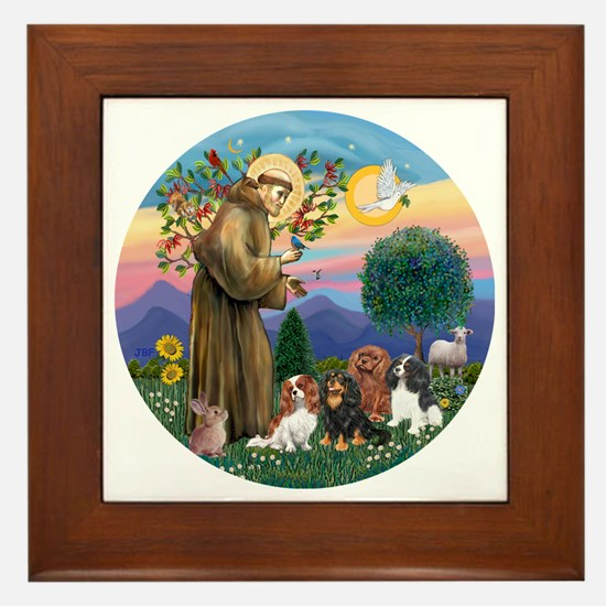 St Francis / 4 Cavaliers Framed Tile