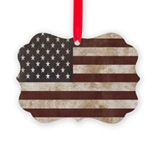 Vintage American Flag King Duvet  Ornament