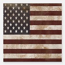 "Vintage American Flag Ki Square Car Magnet 3"" x 3"""