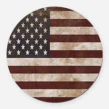 Vintage American Flag King Duvet  Round Car Magnet