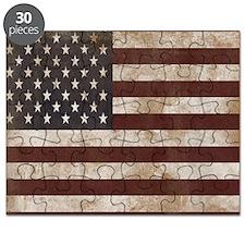 Vintage American Flag King Duvet 1 Puzzle