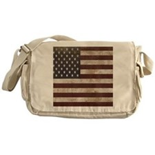Vintage American Flag King Duvet 1 Messenger Bag