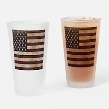 Vintage American Flag King Duvet 1 Drinking Glass