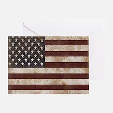 Vintage American Flag King Duvet 1 Greeting Card
