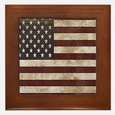 Vintage American Flag King Duvet 1 Framed Tile
