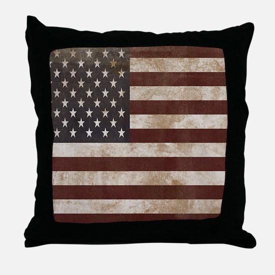 Vintage American Flag King Duvet 1 Throw Pillow
