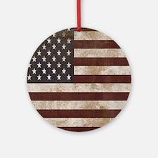 Vintage American Flag King Duvet 1 Round Ornament