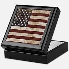 Vintage American Flag King Duvet 1 Keepsake Box