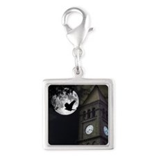 Clocktower in Moonlight Silver Square Charm