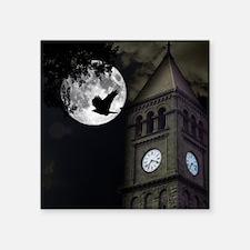"Clocktower in Moonlight Square Sticker 3"" x 3"""