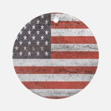 Vintage American Flag Round Ornament