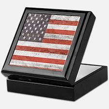 Vintage American Flag Keepsake Box