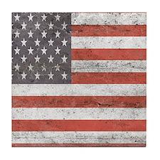 Vintage American Flag Tile Coaster
