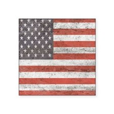 "Vintage American Flag Square Sticker 3"" x 3"""