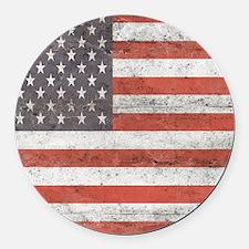 Vintage American Flag Round Car Magnet