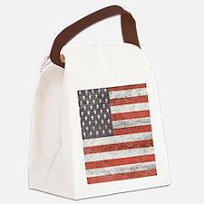 Vintage American Flag Canvas Lunch Bag