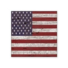 "Cracked American Flag Square Sticker 3"" x 3"""