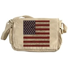 Cracked American Flag Messenger Bag