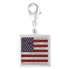 Cracked American Flag Silver Square Charm
