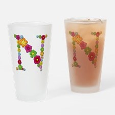 N Bright Flowers Drinking Glass