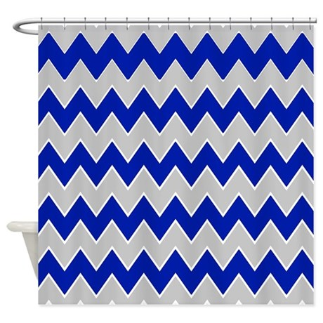 Gray And Navy Zigzags Shower Curtain By ShowerCurtainsWorld