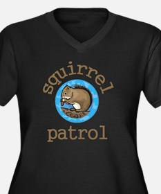 Squirrel Pat Women's Plus Size V-Neck Dark T-Shirt