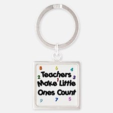 Teacher Count Square Keychain