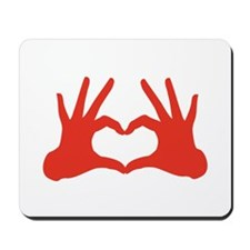 love, red hands showing heart sign Mousepad