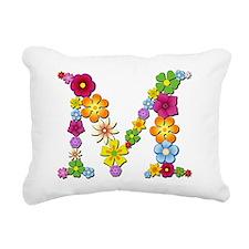 M Bright Flowers Rectangular Canvas Pillow