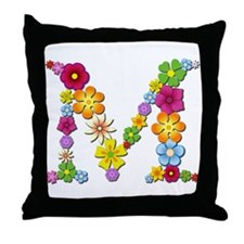 M Bright Flowers Throw Pillow