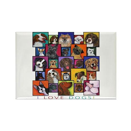 I Love Dogs! Rectangle Magnet