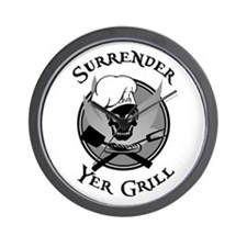 Surrender Yer Grill Black Wall Clock