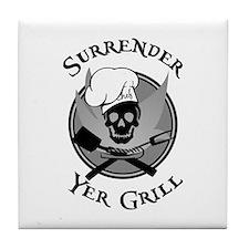 Surrender Yer Grill Black Tile Coaster