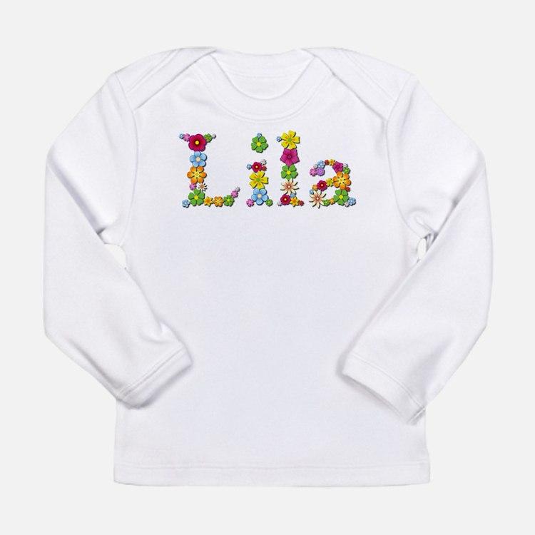 Lila Bright Flowers Long Sleeve T-Shirt