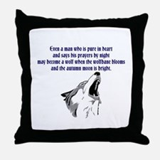 werewolf (blue writing) Throw Pillow