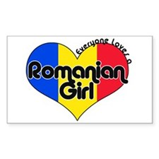 Everyone Loves a Romanian Girl Sticker (Rectangula