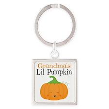 Grandmas Little Pumpkin Square Keychain