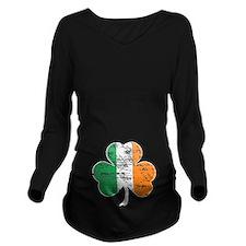 Vintage Irish Flag Shamrock Long Sleeve Maternity