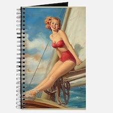 Pinup Sailboat Beach Towel Journal