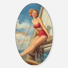 Pinup Sailboat Beach Towel Sticker (Oval)