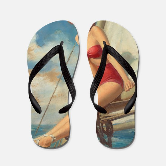 Pinup Sailboat Beach Towel Flip Flops