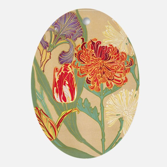 Art Nouveau Flowers Oval Ornament