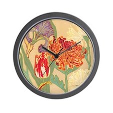 Art Nouveau Flowers Wall Clock