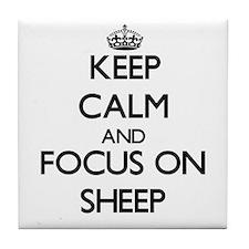 Keep calm and focus on Sheep Tile Coaster