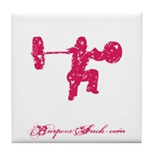 CLEAN LIKE A GIRL - PINK Tile Coaster