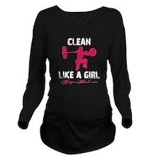 CLEAN LIKE A GIRL -  Long Sleeve Maternity T-Shirt