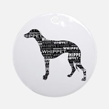 Whippet Silhouette BN Ornament (Round)